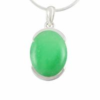"""Pendentif Jade vert """"nature"""" & argent 925, hauteur totale 3cm"""