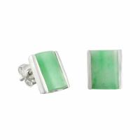 Boucles Jade vert & argent 925, puces 9mm x 1cm