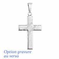 Pendentif croix argent 925 rhôdié + gravure verso, haut. 4.5cm