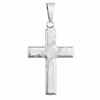 Pendentif croix + gravure verso, argent 925 rhôdié, haut. 4.5cm