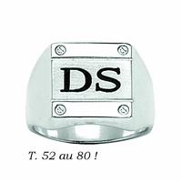 Chevalière carrée 13x13mm, argent 925 (13g), toute gravure, T. 52 au 80 !
