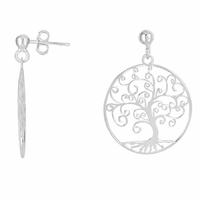 Boucles arbre de vie en argent 925 option rhôdié, diamètre 2.5cm, hauteur 3.3cm