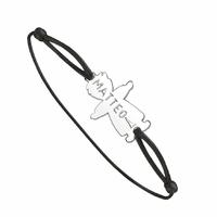 """Bracelet """"garçon"""" en argent 925 sur cordon, personnalisable recto et/ou verso"""