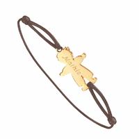 """Bracelet """"garçon"""" plaqué or sur cordon, option gravure(s)"""