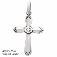 """Pendentif croix argent 925 """"aspect vieilli"""", 2.7x3.5cm, hauteur totale 4.5cm"""