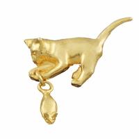 """Broche """"le chat et sa souris"""", 3.5cmx3.5cm"""