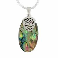 Pendentif nacre paua ou abalone & argent, hauteur 3.5cm ou 5.5cm, photos contractuelles !
