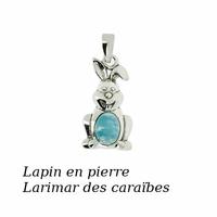 """Pendentif """"lapin"""" en larimar & argent 925, hauteur 2.5cm"""