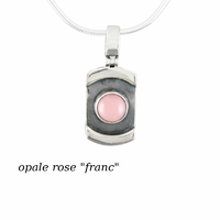 Pendentif opale rose & argent 925, 1.3x3cm de haut, modèle au choix