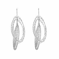 Boucles anneaux diamantés en argent 925, longueur 6cm