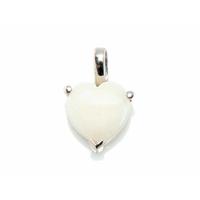 Pendentif coeur opale blanche ou translucide & argent 925 rhôdié, hauteur 1.3cm ou 1.5cm au choix