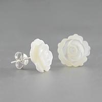 Boucles fleur nacre blanche & argent 925, puces diamètre 1.2cm