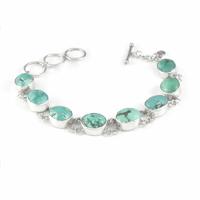 Bracelet turquoise & argent 925, cabochons 9mmx1.1cm, tout poignet