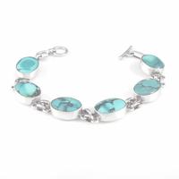 Bracelet turquoise & argent 925, cabochons 1.3x1.7cm, tout poignet mesuré de 15 à 16.5cm