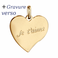 Pendentif Coeur Je t'aime, plaqué or + gravure verso - 2.6cm