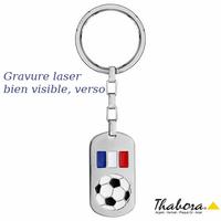 Porte clés foot France, acier, plaque GI 2x4cm +gravure