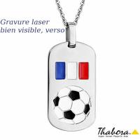 Collier ballon de foot France acier, 50 à 55cm + gravure