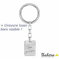Porte-clés papa je t'aime, acier, plaque 1.8 x 2.5cm + gravure verso