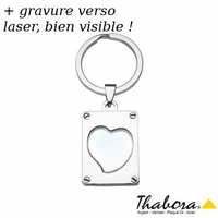Porte-clés Coeur à photo, 2.5x3.2cm, hauteur totale 6.5cm, option gravure verso
