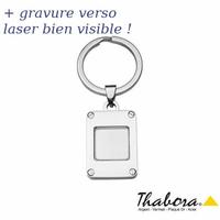 Porte-clés photo acier, 2.5x3cm, hauteur totale 6,5cm, option gravure verso