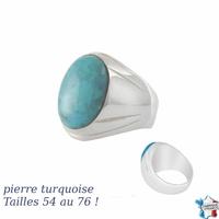 Chevalière turquoise & argent 925 (19g), T. 52 au 76 !
