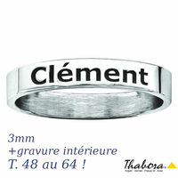 Anneau ruban 3mm en argent 925, T. 48 au 64 ! option gravure intérieure et/ou extérieure