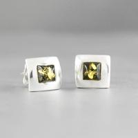 Boucles ambre verte & argent 925, 7mm de côtés