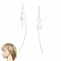 Boucles 2 étoiles argent 925, long. 9cm