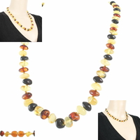 Collier ambre multi, formes arrondies, 45cm