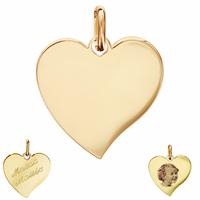 Pendentif Coeur plaqué Or + gravure(s), photo(s), 2cm, haut. totale 2.5cm
