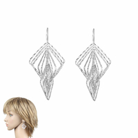 Boucles losanges argent 925 diamanté, long. 5cm