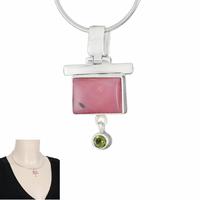 Pendentif opale rose, péridot & argent 925, haut. 3.5cm, photo contractuelle