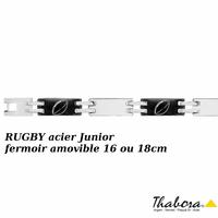 Bracelet rugby Junior acier et pvd noir, 7mm + gravure(s), fermoir amovible 16 ou 18cm