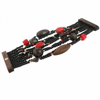 Bracelet en bois et corail 420551