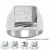 Chevalière carré diamanté 13x13mm argent 925 (13g) + gravure T. 52 au 80 !