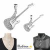 Pendentif guitare rock argent 925 rhôdié & oxydes, modèle au choix