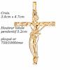Pendentif croix, guitare rock plaqué or, 3.4x4.7cm, haut. totale 5.2cm
