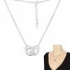 Collier menottes 1.6cm, double chaîne argent 925 + rhôdié - 40 à 45cm