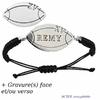 Bracelet ballon de rugby XV + gravure, acier