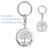 Porte clés arbre de vie 1 à 5 prénoms face + verso, argent 925