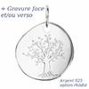 Pendentif arbre de vie argent 925 + rhôdié + gravure - 2.5cm