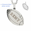 Pendentif ballon de rugby XV + gravure, acier