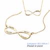 Collier Infini 1 à 4 prénoms face+verso, plaqué or jaune, long. 40 à 60cm !