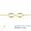 Bracelet Infini 1 à 4 prénoms face+verso, plaqué or jaune - 16 à 22cm