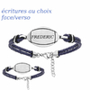Bracelet ballon de rugby + gravure, cuir bleu & acier, Junior ou adulte