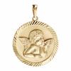 Médaille ange + gravure, plaqué or, haut. 2.2cm