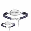 Bracelet rugby option gravure, cuir bleu & acier, Junior ou adulte