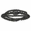 Bracelet rugby + gravure(s), lave & acier noir, poignet maxi 18cm
