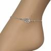 Chaîne de cheville motif filigrané - 22-25cm, argent 925 + rhodié