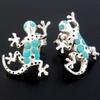 Boucles Salamandre, turquoise & argent 925, haut. 1.6cm